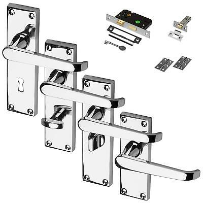 Chrome Door Handle Polished Set Pack Mortice Latch Lock Bathroom Privacy Flat
