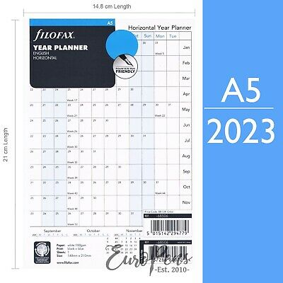Filofax A5 size Horizontal Year Diary Planner Refill - choose year (2019-2020)
