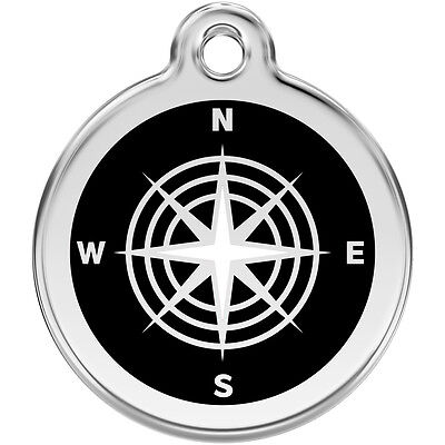 Black Compass Engraved Red Dingo Dog / Cat ID identity Tags / discs (1CM)