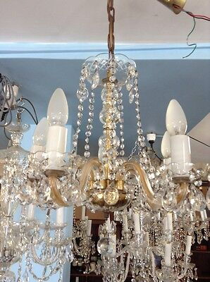 VINTAGE 5 LIGHT  BOHEMIA LEAD CRYSTAL CHANDELIER READY TO No.22