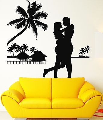 Wall Stickers Ocean Palms Beach Loving Couple Relax Vinyl Decal (ig2407)