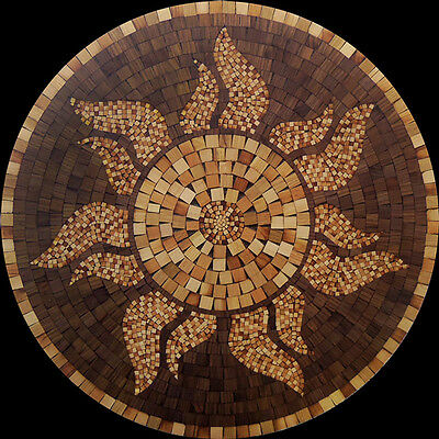 "Rare Wood MOSAIC Hardwood Flooring SUN MEDALLION 36"" inlay floor art hand made"