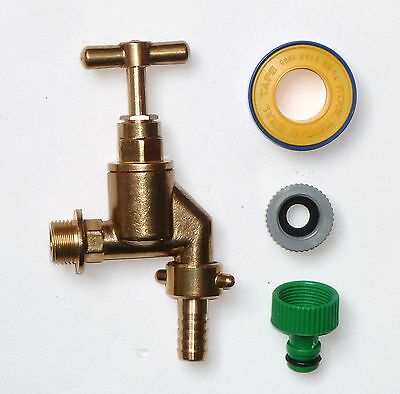Heavy Duty Brass Outside Tap With Garden Hose Fitting & PTFE Tape 1/2""