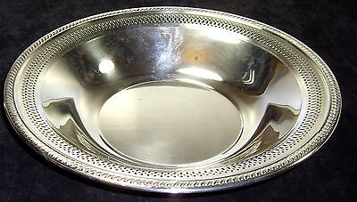Silver plated round serving bowl by F B Rogers with no plate loss & rolled edge