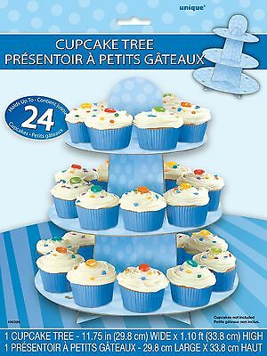 UNIQUE BLUE POLKA Cupcake Stand, tree 1st Birthday Boy Baby Shower Party