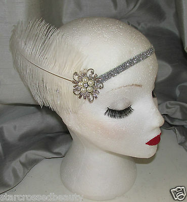 White Silver Ostrich Feather Flapper Headpiece 1920s Vintage Headband Pearl k65