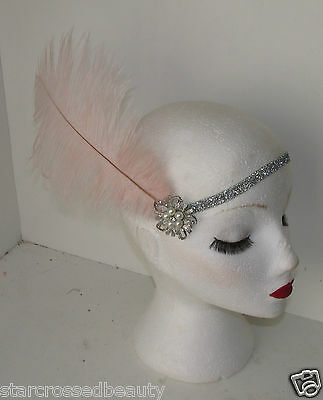 Pink Silver Ostrich Feather Flapper Headpiece 1920s Vintage Headband Pearl k66