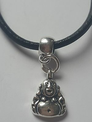 Chinese Buddah Tibetan Silver Charm Pendant On Black Leather Choker  Necklace.