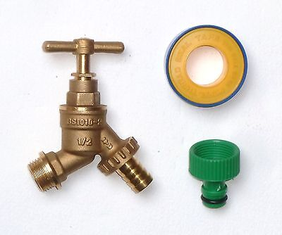 "1/2"" Outside Tap With Garden Hose Connector & PTFE Tape 