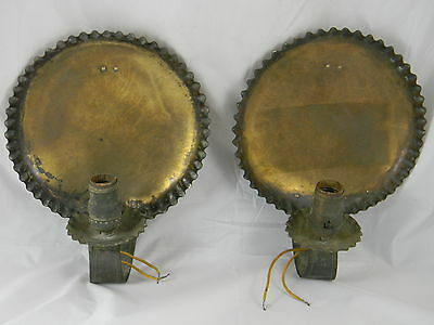 Arts & Crafts Brass Wall Sconces Hammered Pie Crust Form Rivets