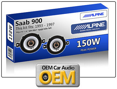 "Saab 900 Front Dash speakers Alpine 3.5"" 87cm car speaker kit 150W Max Power"