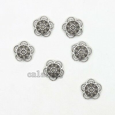 50x Antique Silver Hollow Flower Charms Alloy End Beads Tips Jewelry Findings C