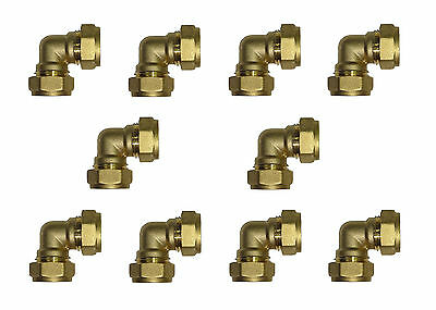 15mm Compression Elbow (10 Pack) Brass Plumbing Fittings For Copper Pipe