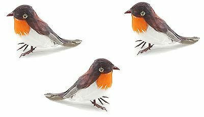 Artificial Xmas Feather Birds Robin Tree Decorations Advent Craft Gift Ornaments