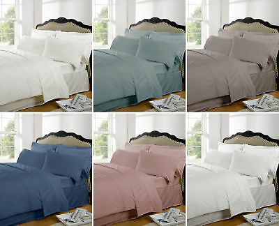 Highams 100% Egyptian Cotton Plain Dye Deep Fitted Sheet Multiple Colour & Sizes