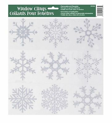 Reuseable Snowflake Glitter Window Stickers Cling Frozen Xmas Decorations Decals