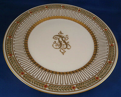 Superb Antique Dresden Porcelain Jewelled Monogram Plate Porzellan Teller
