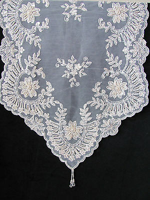 Divine & Elegant Cream Ivory Lace Beaded Sequin Embroidered Table Runner - 7328