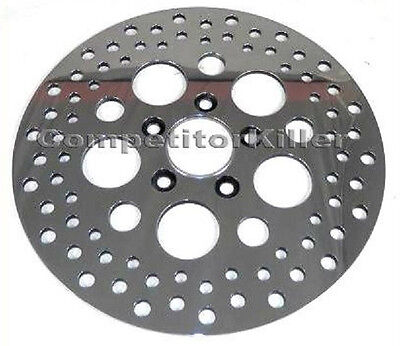 """11.5"""" Front Harley Brake Rotor Polished Finish Standard Stainless Steel Drilled"""
