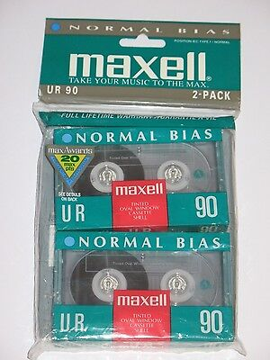 Lot of 2 Maxell UR 90 blank audiocassettes normal bias 1992-1996 NEW