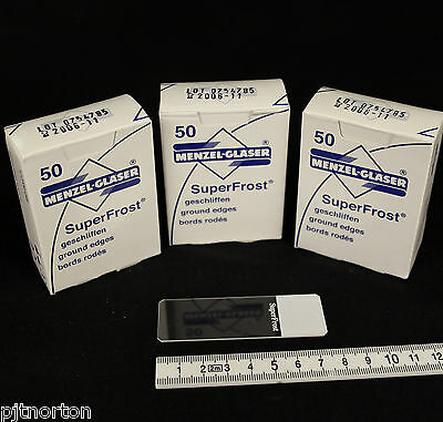Three boxes of Frosted Microscope slides 150 in total 76 x 26mm Expired Stock
