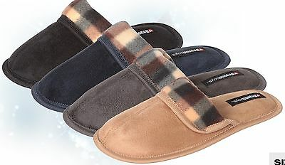 Wholesale Men's Slippers Lot of 30prs Suede with Plaid Upper, Mixed Colors Sizes