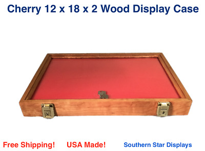 Wood Display Case  12 x 18 x 2  Cherry with keyed lock