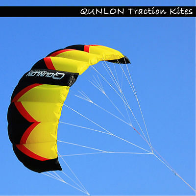 Sports 3m² 3- Lines Foil Power Kites Traction Kite for beginner Red+Yellow+Black