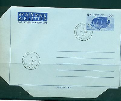 St. Vincent 1976 20¢ aerogramme used FDC folded