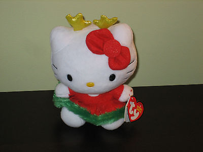 Ty NEW BEANIE BABY HELLO KITTY CHRISTMAS 2014 REINDEER DRESS BABIES MWMT