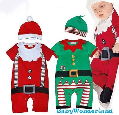 Baby Boys Girls Christmas Xmas Santa Outfit Set Romper + Hat One  Size 0-2Y