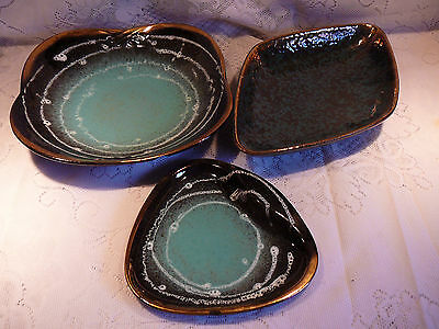 3 PIECES VINTAGE WEST GERMAN POTTERY DISHES BOWLS SOLAR SYSTEM black green gold