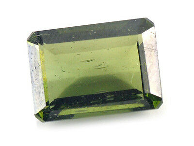 5.85cts rectangle 14x10mm moldavite faceted cutted gem BRUS968