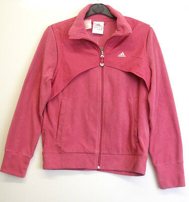 Girls Adidas Pink Zipped Hooded Tracksuit Mix Top Size 34/36  (15/16 Yrs) (A-30)