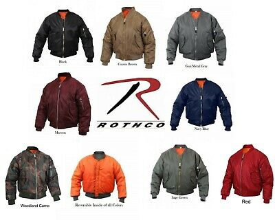 MA-1 Bomber Jacket Rothco Air Force Military Reversible Flight Coat Jacket NEW