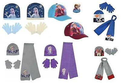 Official Disney Frozen Elsa And Anna Knitted Beanie Hat Gloves Set 2-7 Years