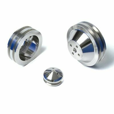 Billet Aluminum Ford V-Belt Pulley Kit 302 351W 351C 400 400M 2 Groove Mustang