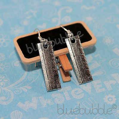 Funky Ruler Earrings Cute Kitsch Retro Cool School Girl Teacher Fun Novelty Gift