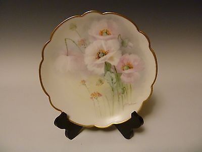 Limoges HP Pickard Pink Poppies Plate signed E.Challinor Ca.1910-1912