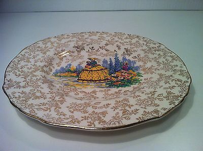 "Vintage James Kent 3087 Chintz Crinoline Lady  9"" Dinner Plate Scalloped Rim"