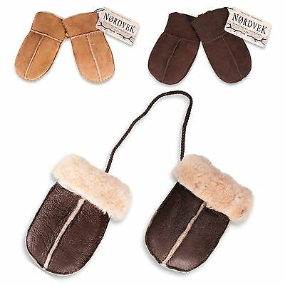 Nordvek Baby Genuine Sheepskin Mittens Gloves On String Boy & Girl 324-100