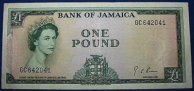 RARE 1960 (1964) Jamaica One Pound Note XF+ Pick 51Ce Sign 4