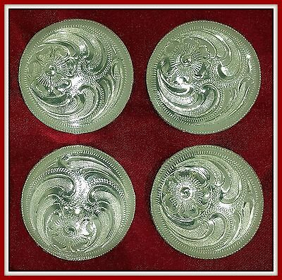 """4 - 1 1/2"""" Silver Hand Engraved Western Conchos"""