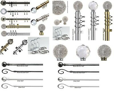 Curtain Pole With Finials Metal Extendable Rings Fixings Fit 13-16MM Extending