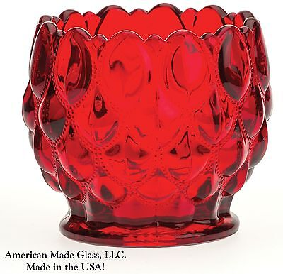 Red Glass Quilted or Elizabeth Pattern Rose Bowl - Mosser Glass USA