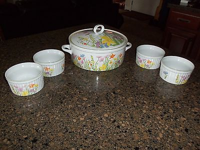 Seymour Manning Day Lily Fine China Souffle Pot and Four Serving Dishes