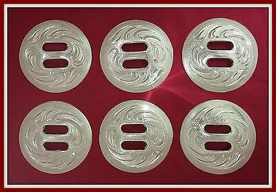 """6 - 1 1/2"""" Silver Hand Engraved Western Slotted Conchos"""