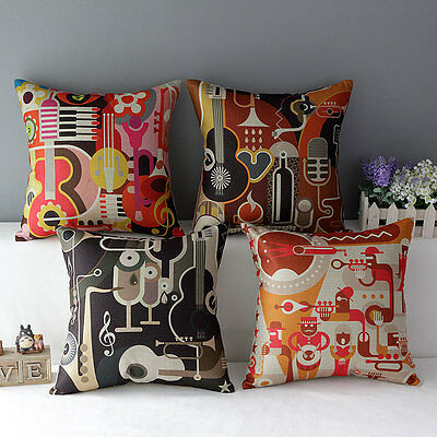 Hot Abstract Music Roll Band Pillow Case Cotton Linen Cushion Cover Decorative