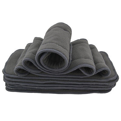 10PCS Absorbent Washable 5Layer Charcoal Bamboo Insert for Cloth Diaper in US