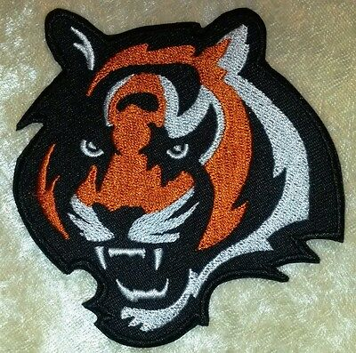 """Cincinnati Bengals Tiger BIG 3.5"""" Iron On Embroidered Patch ~FREE Ship!"""